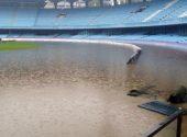 El estadio Balaídos, inundado